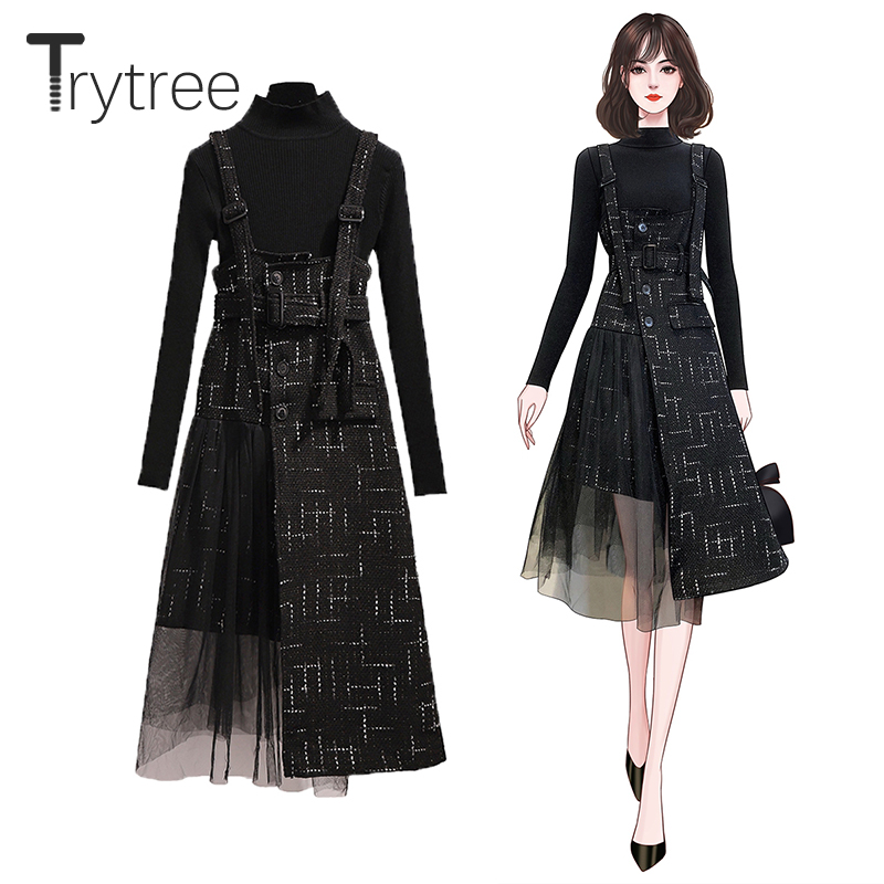 Trytree 2019 Autumn Women Two Piece Set Casual Turtleneck Solid Black Tops + Dress Sling Belt Button Patchwork Set 2 Piece Set