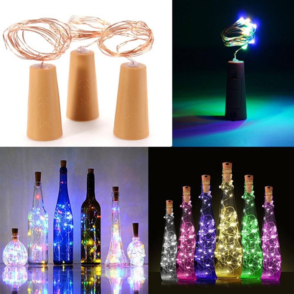 Striscia luminosa per bottiglia di vino in sughero alimentata a batteria 1m / 2m striscia luminosa a LED fai-da-te striscia luminosa per tappo per bottiglia di vino per festa di compleanno