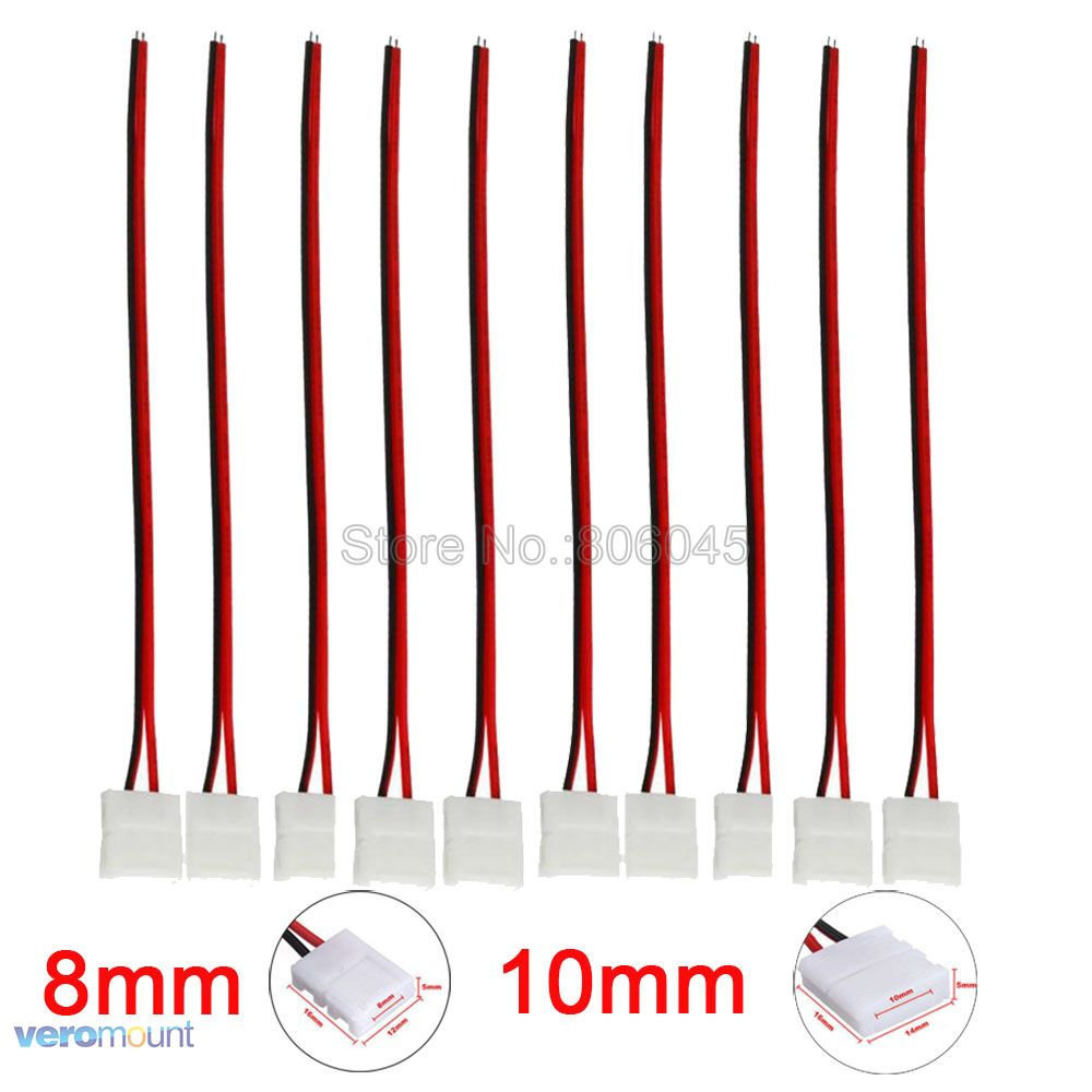 8mm <font><b>10</b></font> mm 2Pin LED Strip Connector No Need Soldering Strip to Strip or Strip to Power For Single Color <font><b>5050</b></font> 3528 LED Striplight image