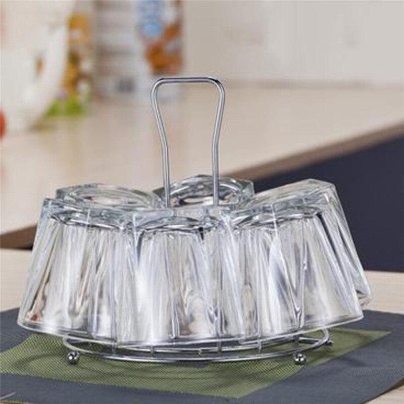 Iron Mug Rack Silver Water Cup Holder Home Storage Goblet Hooks Tea Cup Storage Rack Home Organizer Kitchen Accessory