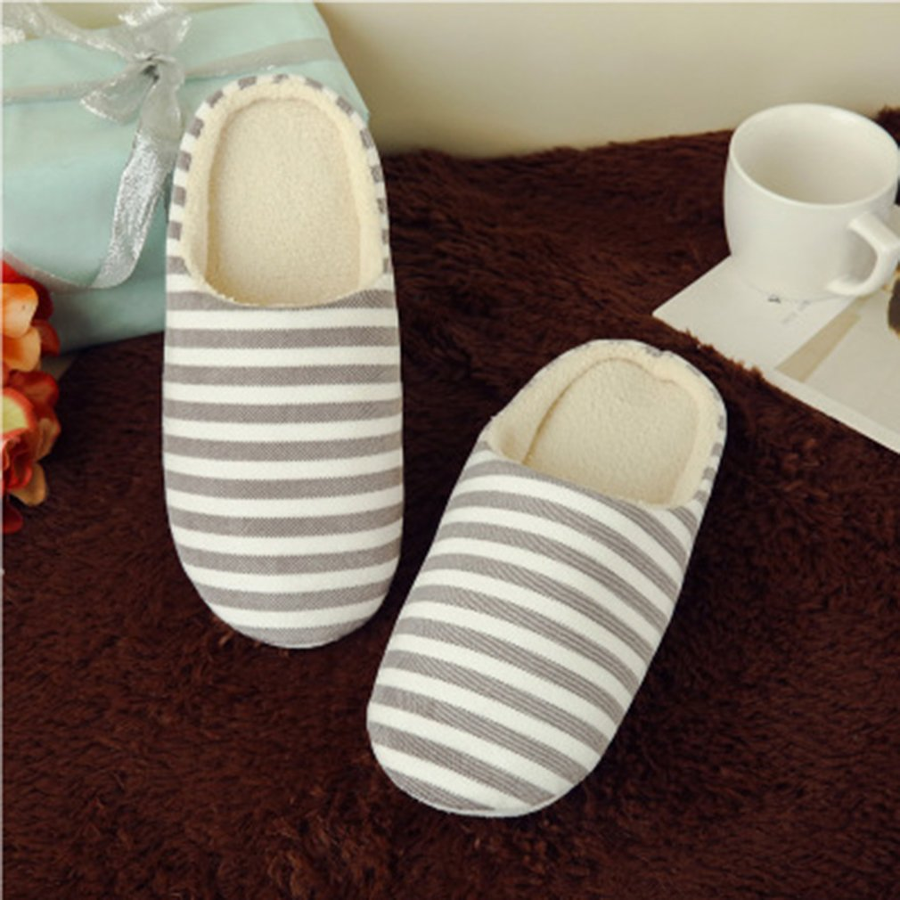 Women's & Men's Striped Indoor Cotton Slippers Anti-slip Winter House Shoes Soft Bottom Cotton Slippers Home Slippers