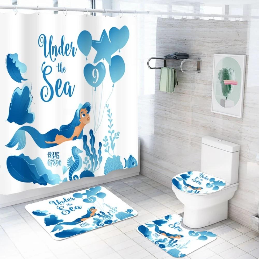 US $4.4 4% OFF4 Pieces Mermaid Bath Set Bathroom Anti Slip Rug Floor  Mat Waterproof Shower Curtain Under the Sea White Background Bath