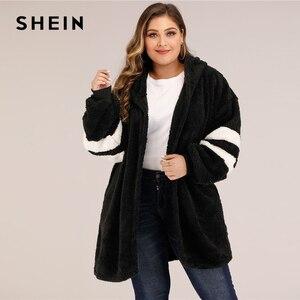 Image 2 - SHEIN artı boyutu Varsity çizgili kapşonlu oyuncak ceket kadınlar sonbahar kış rahat artı Colorblock flanel dış giyim uzun palto