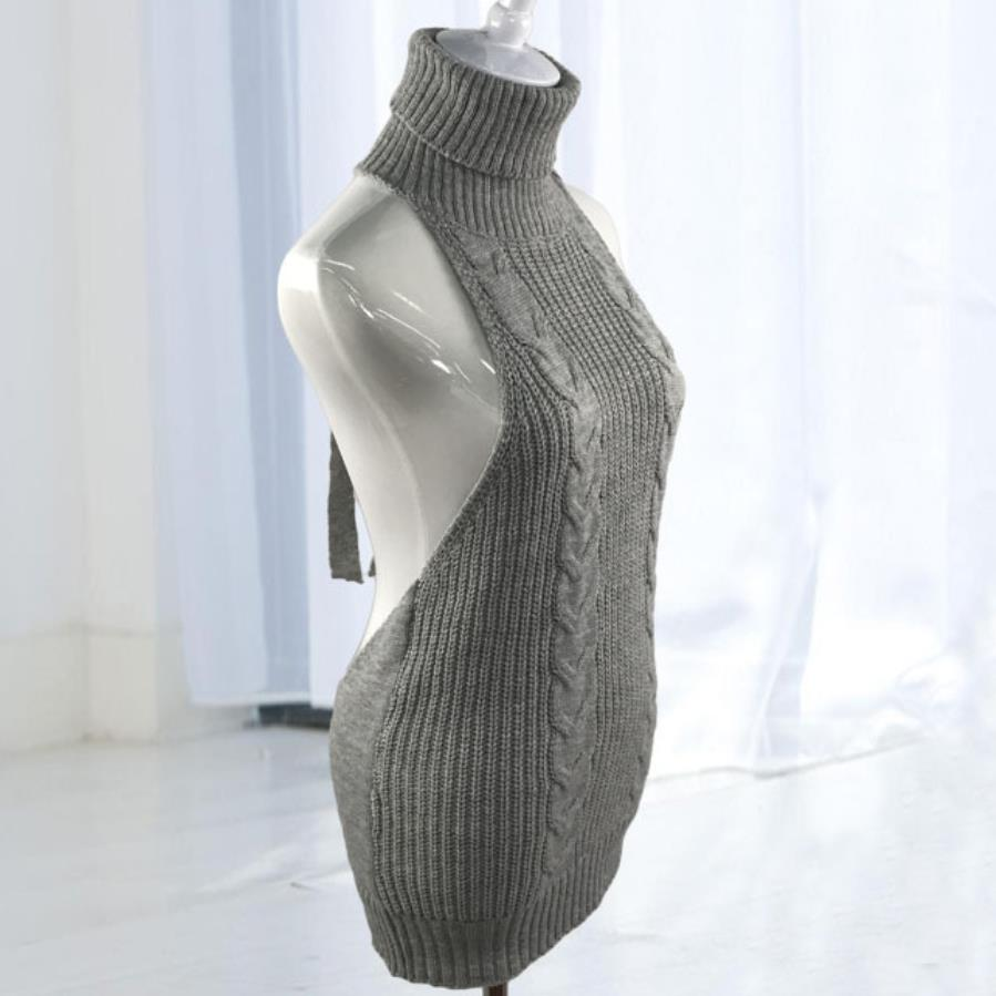 New Turtleneck Sleeveless Long Virgin Killer Sweater Japanes Knitted Sexy Backless Women Sweaters And Pullovers