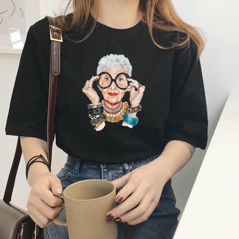 2019 Zomer Vrouwen T-shirt Mode Toevallige Harajuku Excentrieke Oude Grootmoeder Print Sexy Persoonlijkheid Koreaanse Vrouwen T-shirt