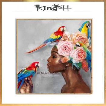 Arte de pared pinturas al óleo abstractas mujer africana americana negro señora con loro colorido 100% pintado a mano arte para