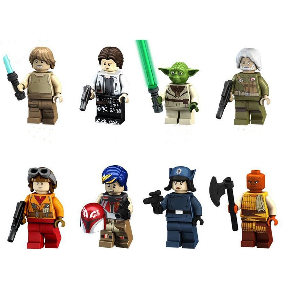 Star Wars Figure Series Toys 8 Pcs/set Star Wars Mandalorian Baby Yoda Blocks Toy Starwars Building Blocks Kids Toys Figures