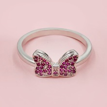 Bow Finger Ring White Pink Mini Cubic Zirconia Ring for Women Cute Mouse Birthday Jewelry Gifts Girls 925 Sterling Silver