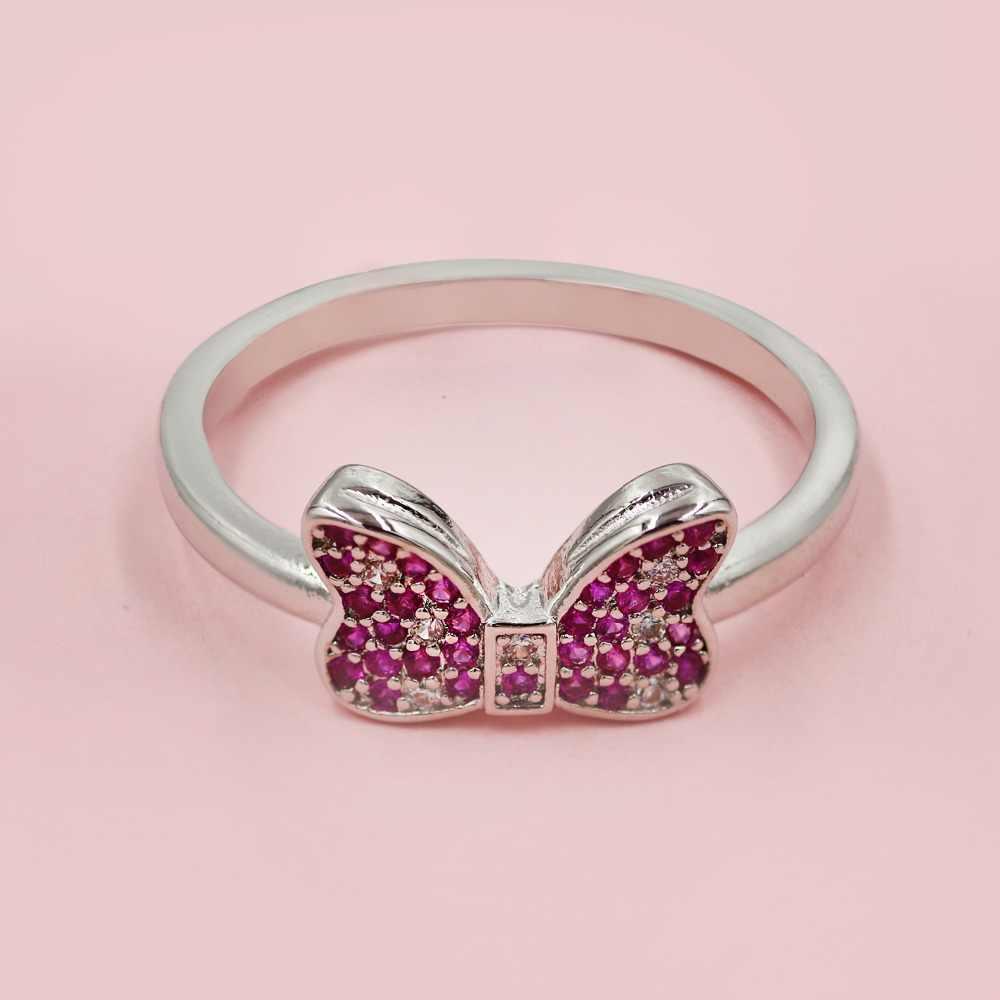Łuk palec pierścień biały różowy Mini sześcienne za pomocą tego narzędzia online bez Pierścionek z cyrkonią dla kobiet śliczne mysz urodziny biżuteria prezenty dziewczyny 925 Sterling Silver