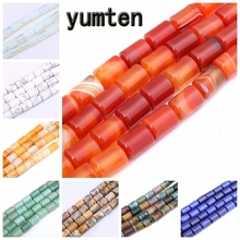 Yumten Round Agate Bead 10mm*14mm Natural Gemstone Loose Beads DIY Necklace Jewelry Making Personalized Gift Braided Accessories