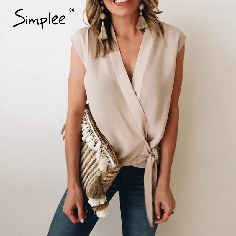 Simplee Sexy Solid Deep V Chiffon Women Blouse Shirt Summer Short Bow Sleeveless Top Blouse Summer Casual Office Streetwear Top