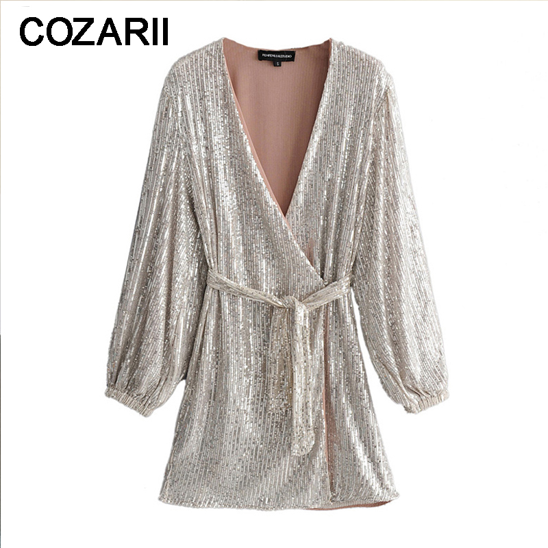 <font><b>Sexy</b></font> <font><b>deep</b></font> <font><b>v</b></font> neck Silver Sequins <font><b>Dress</b></font> Women Long Puff Sleeve club party <font><b>Dress</b></font> elegant wrap mini <font><b>dress</b></font> 2019 vestidos image