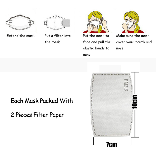 PM2.5 Filter Face Mask For Children Kids Girls Boys Cotton Anti Dust Mouth Masks 2pcs Activated Carbon Breathable Respirator 3