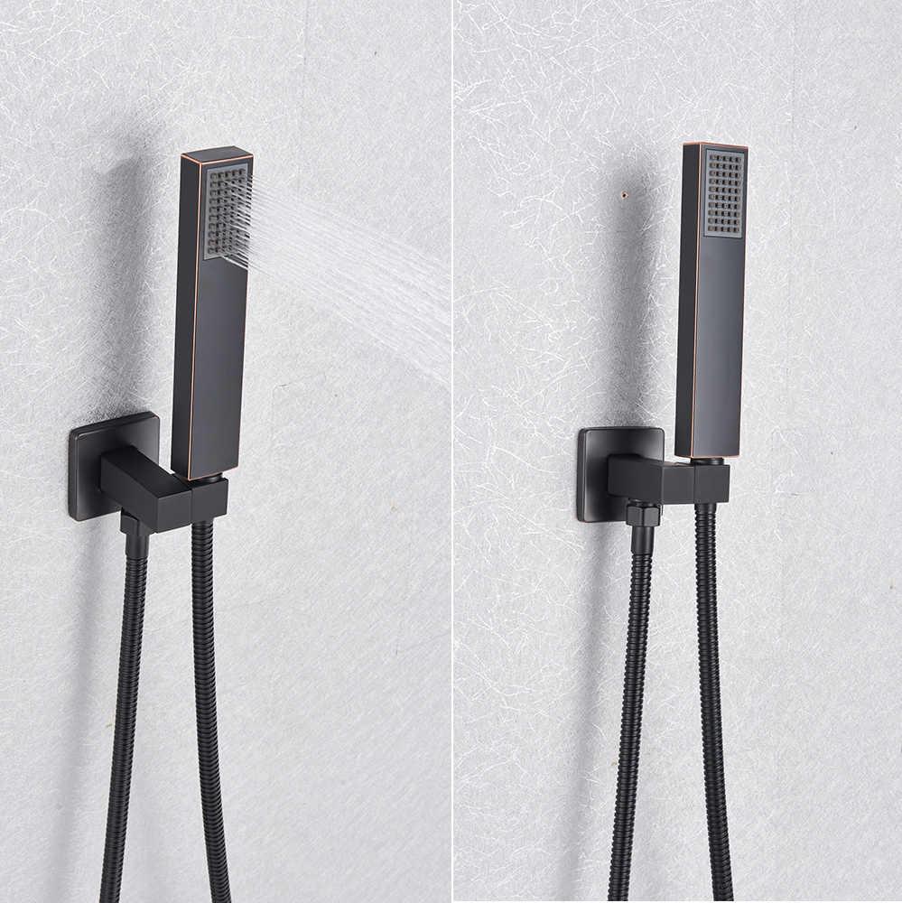 Siyah duş seti duvara monte karıştırıcı duş musluğu 8/10/12/16 inç yağış banyo duş musluk el duşu ile döndür banyo emzik