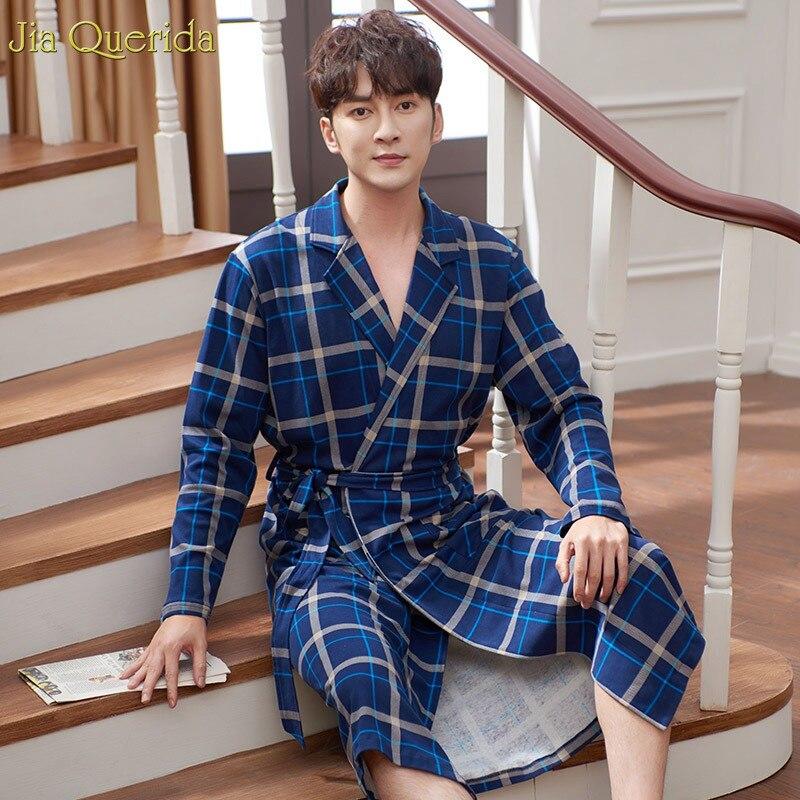 Men's Robe Buy China Direct 100% Cotton Royal Blue Plaid Elegant Male's Bathrobe Cotton Long Sleeve Plus Size Kimono Robe Cotton