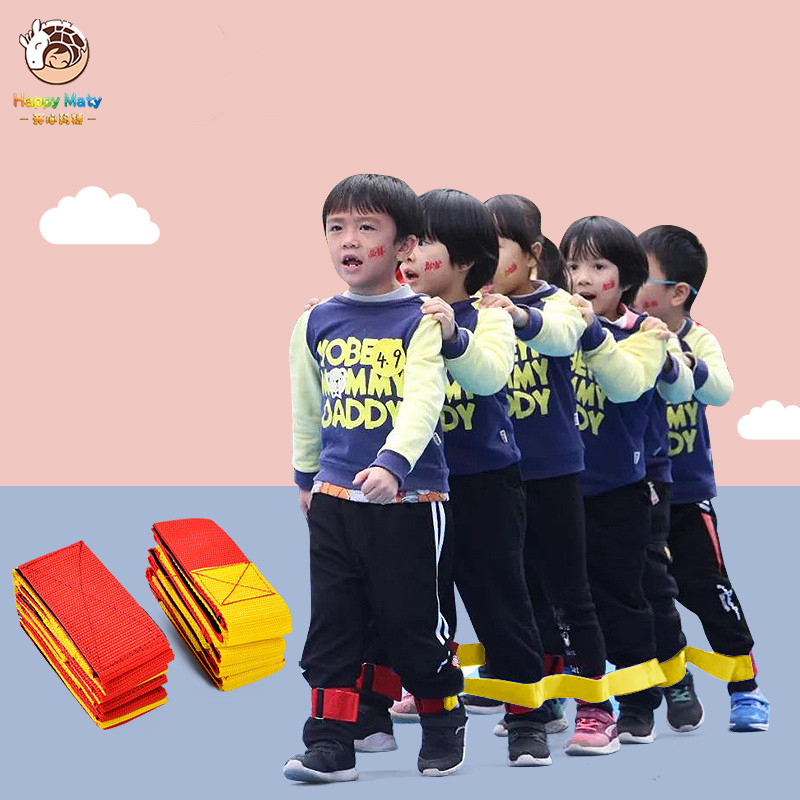 Happymaty 4 Legged Race Bands Outdoor Game For Kids Adults Birthday Team Party Games With Carry Bag Children Outdoor Sports Toys