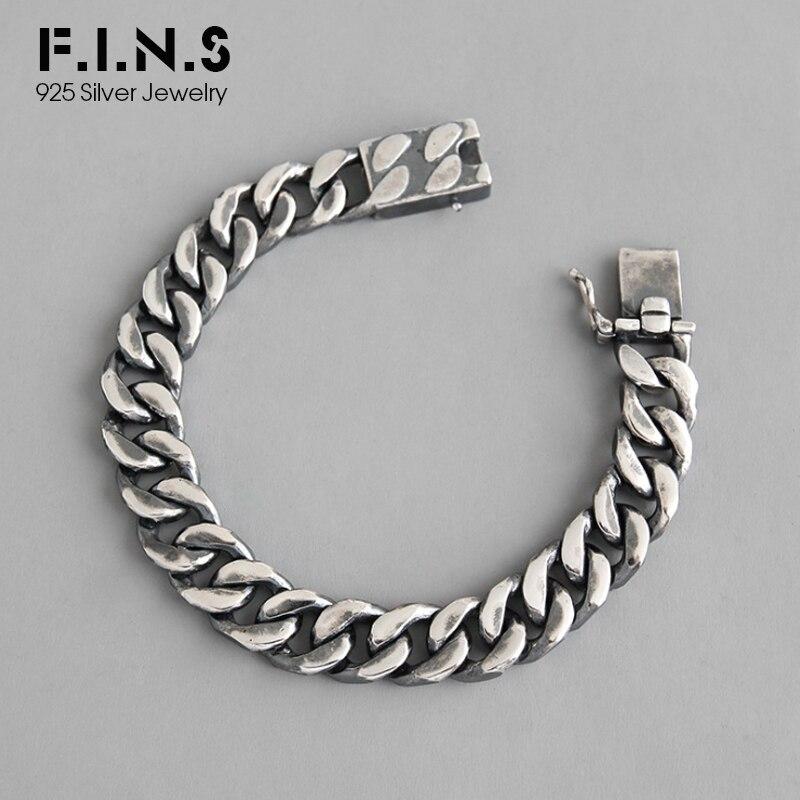 F.I.N.S Vintage S925 Bracelet en argent Sterling INS Style Punk rétro vieux lien épais chaîne Bracelet femme argent ornements