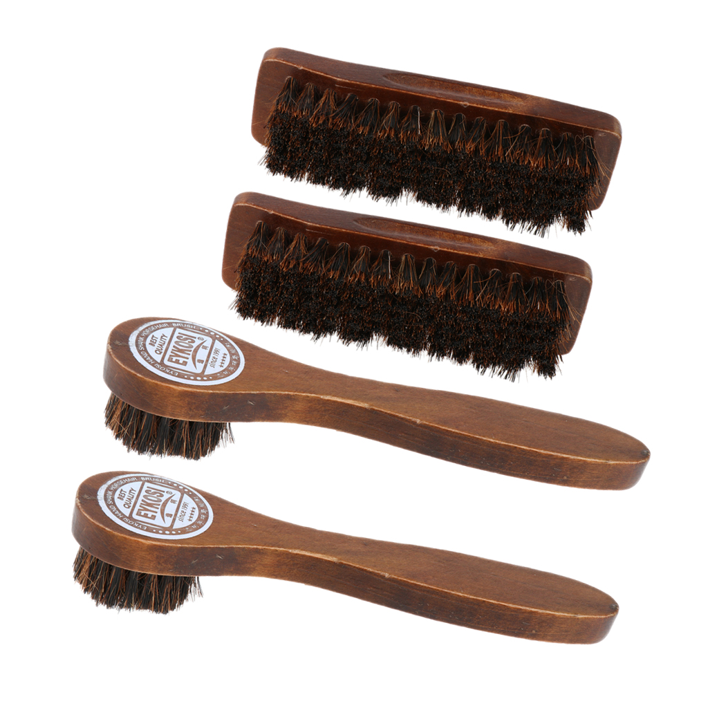 4PCS Wooden Handle Shoe Boots Cleaning Brush Cleaner Polish Applicator Shine