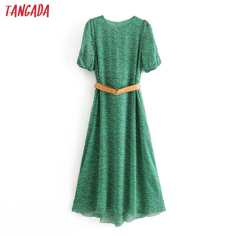 Tangada Fashion Women Leopard Print Green Dress With Belt 2020 New Arrival Long Sleeve Ladies Chiffon Midi Dress 6A09