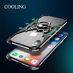 Image 4 - OATSBASF バットデザインバンパーエアバッグ金属ケース iphone × ケース人格リングホルダーシェル iphone 7 8 プラス金属カバー