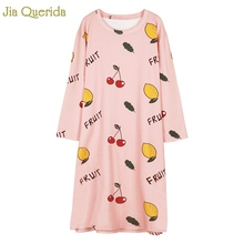 Nighty Pink Girl's Nightwear Cotton Long Sleeves Cute Fruit