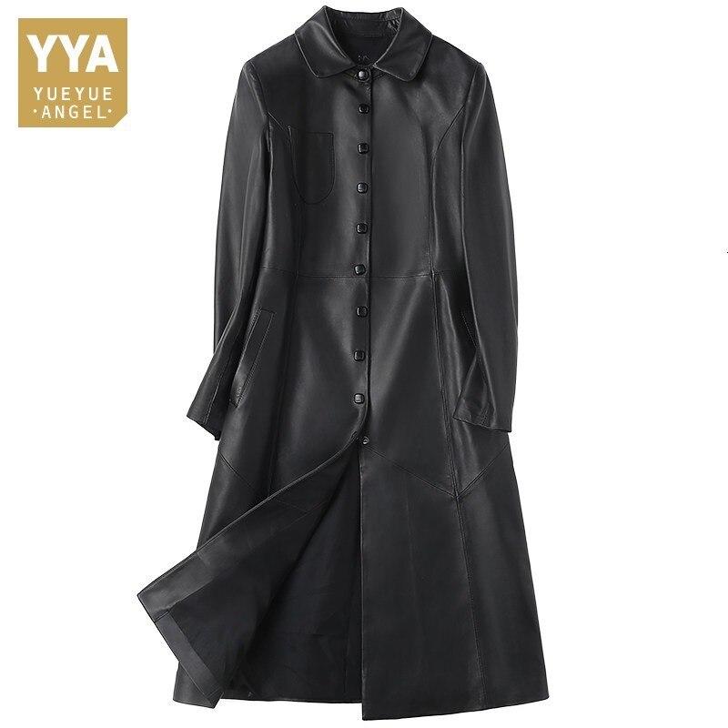 2020 Genuine Leather Jacket For Women Turn-down Collar Loose Fit Sheepskin Long Coat OL Style Female Windbreakers Plus Size 2XL