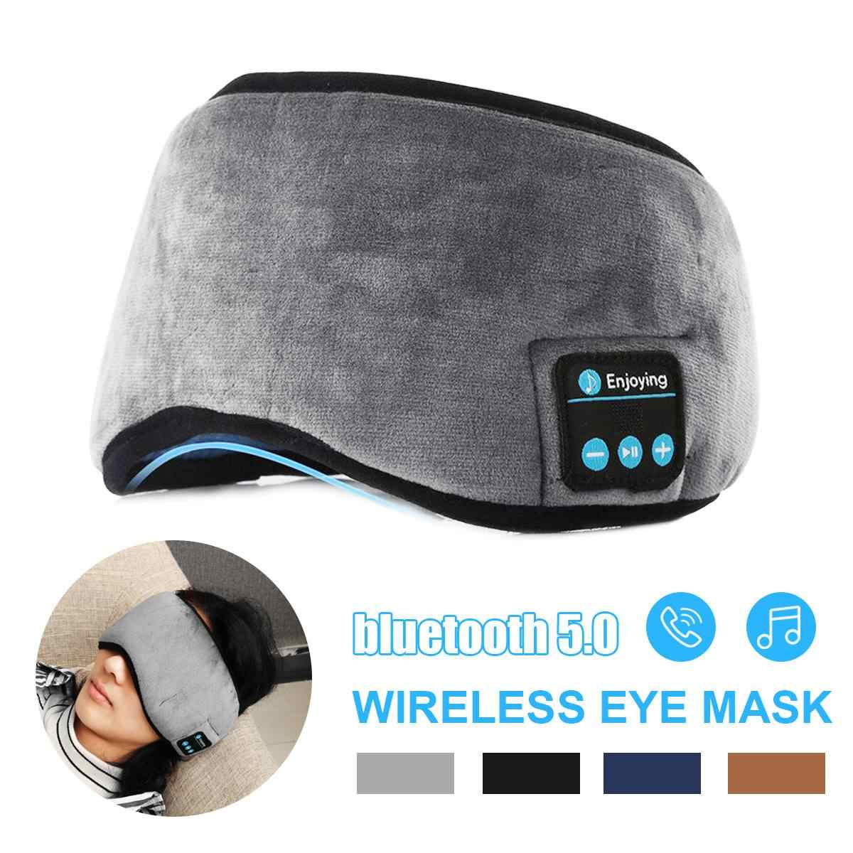 Nirkabel Bluetooth Earphone Masker Mata Bluetooth 5.0 Musik Stereo Tidur Headset Perjalanan Warna Mata dengan Built-In Speaker MIC