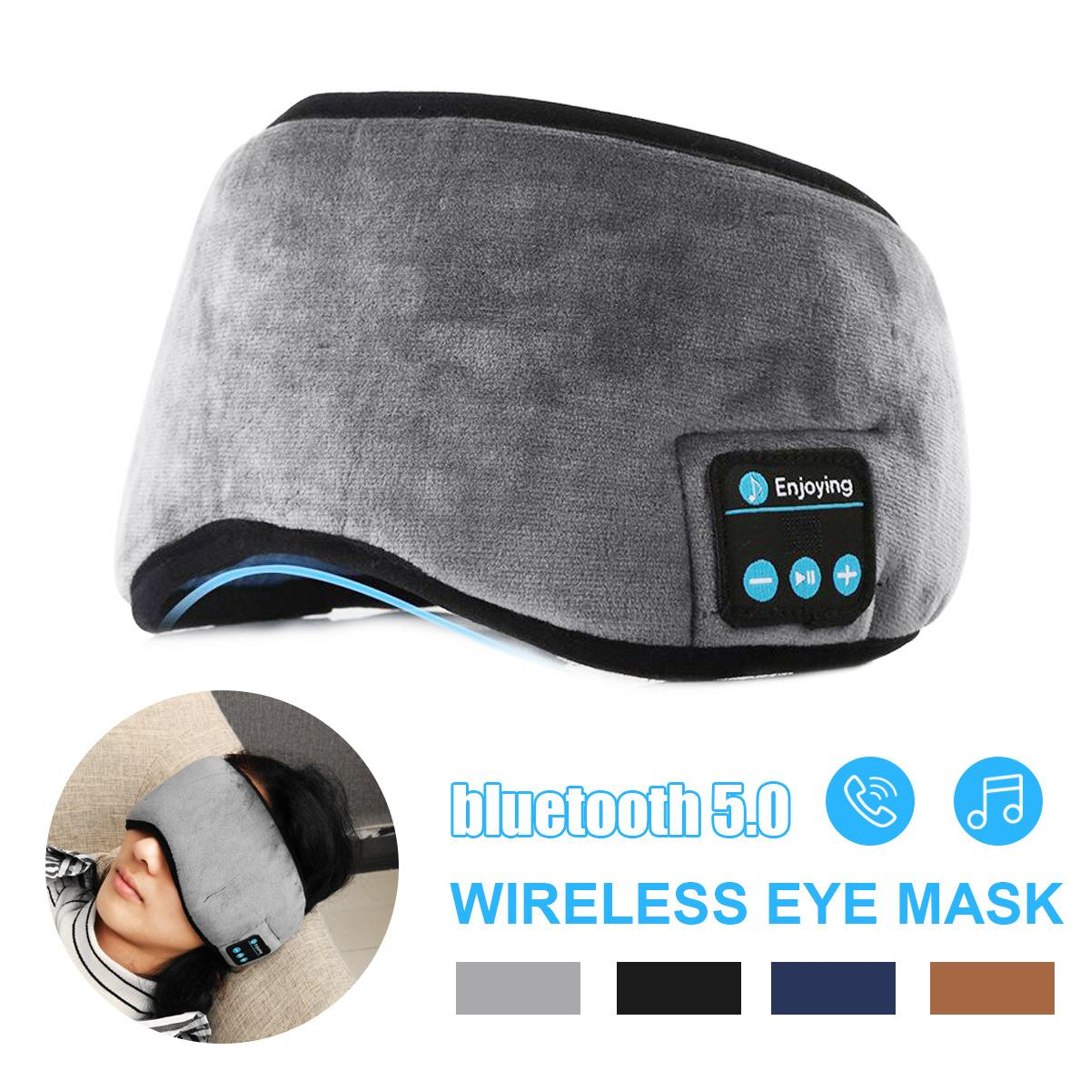 Wireless bluetooth Earphones Eye Mask bluetooth 5 0 Stereo Music Sleep Headset Travel Eye Shades with Built-in Speakers Mic