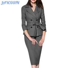 JAYCOSIN женский костюм однотонный с отворотом длинный рукав Топ жакет костюм с юбкой модные элегантные пиджаки офисная одежда женские костюмы 1029