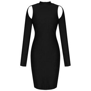 Image 4 - Ocstrade שחור תחבושת שמלה סקסית ארוך שרוול Bodycon שמלת 2020 סתיו בגדים חדש הגעה נשים ללא משענת לילה מועדון מסיבת שמלה