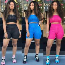 HAOYUAN Two Piece Set Tracksuit Festival Neon Knit Sweater Crop Top and Biker Shorts Sweat Suits Sexy 2 Piece Outfits for Women(China)