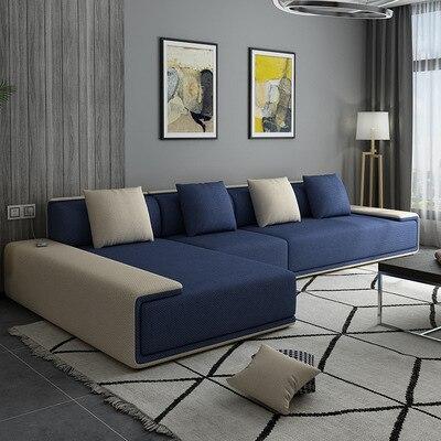 Simple Living Room Latex Fabric Sofa Small Apartment Sofa Combination Removable Three-seat Sofa Pedal