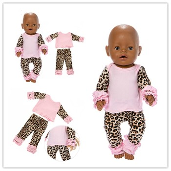 Fit 18 inch 43cm Doll Clothes Accessories Born New baby Leopard Print Suit For Baby Festival Gift