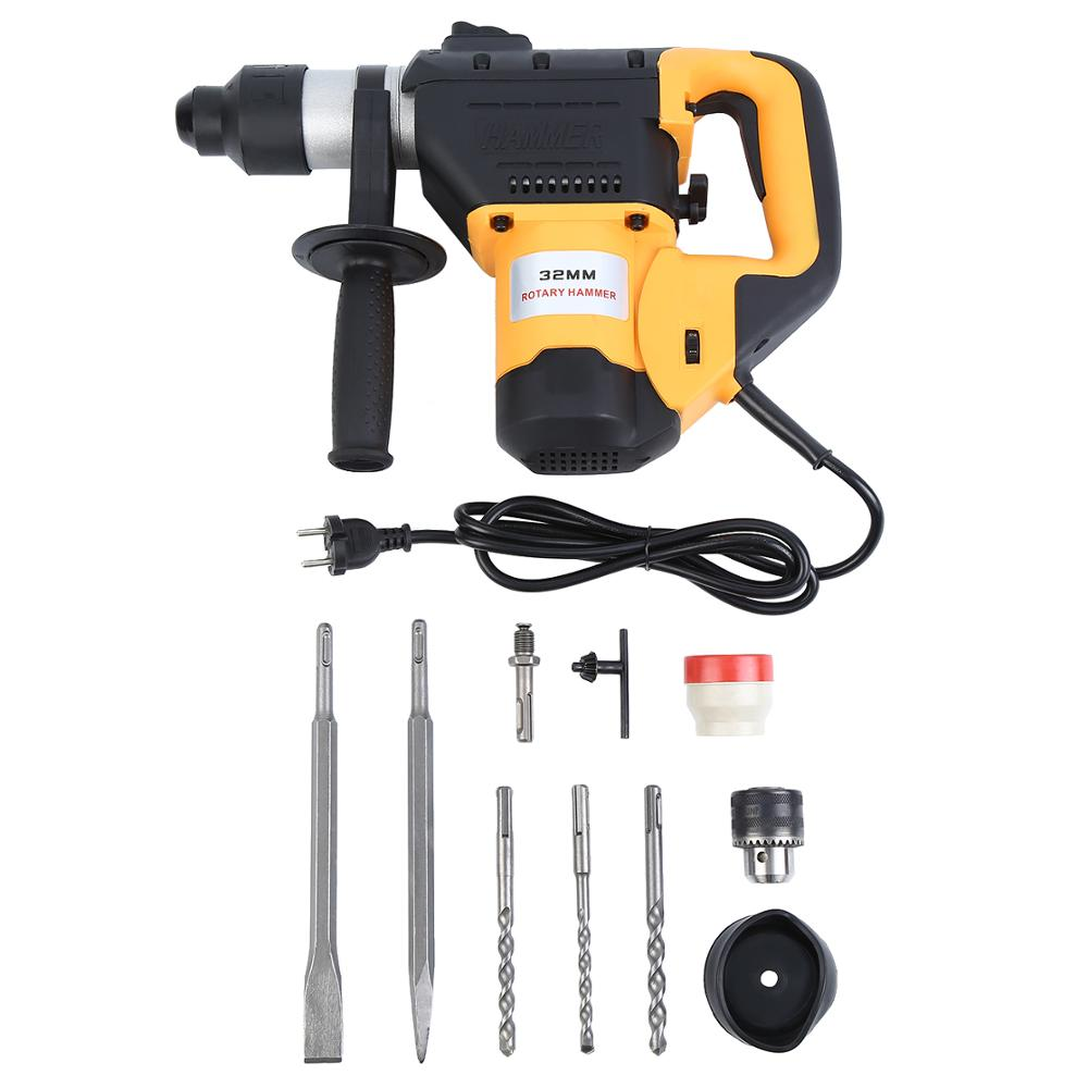 1800W Electric Hammer Drill SDS Plus Impact With Drill Chisel Accessories Repair Power Tool Top