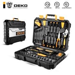 DEKO DKMT128 Steckschlüssel Werkzeug Set Auto Reparatur Gemischt Werkzeug Kombination Paket Hand Tool Kit mit Kunststoff Toolbox Lagerung Fall