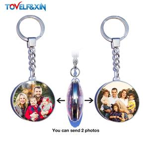 DIY Double Side Photo Custom Keychain Personalized Keyrings Customized Glass Cabochon Family Lovers Baby metal Key chain Gifts