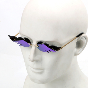FORAUTO Rimless Wave Sunglasses Fire Flame Sunglasses Streetwear Car Driving Glasses Trending Narrow Fashion UV 400 Eyewear