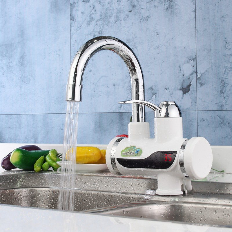 Electric Water Heater LED Digital Display Kitchen Faucet Tankless Instant Heating Kitchen Mixer Tap AU Plug Household 220V