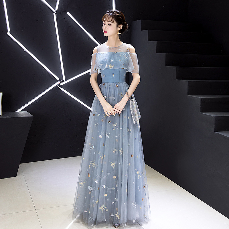 Elegant Light Blue Patchwork Mesh Dress Star Sequins Cheongsam Formal Party Gowns Female Embroidery Sexy Chinese Dress Qipao