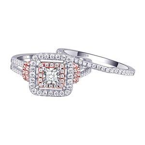 Image 2 - Newshe kobiet stałe 925 Sterling Silver Halo różowe złoto kolor zestaw obrączek ślubnych niebieskie kamienie boczne Upmarket biżuteria BR0760