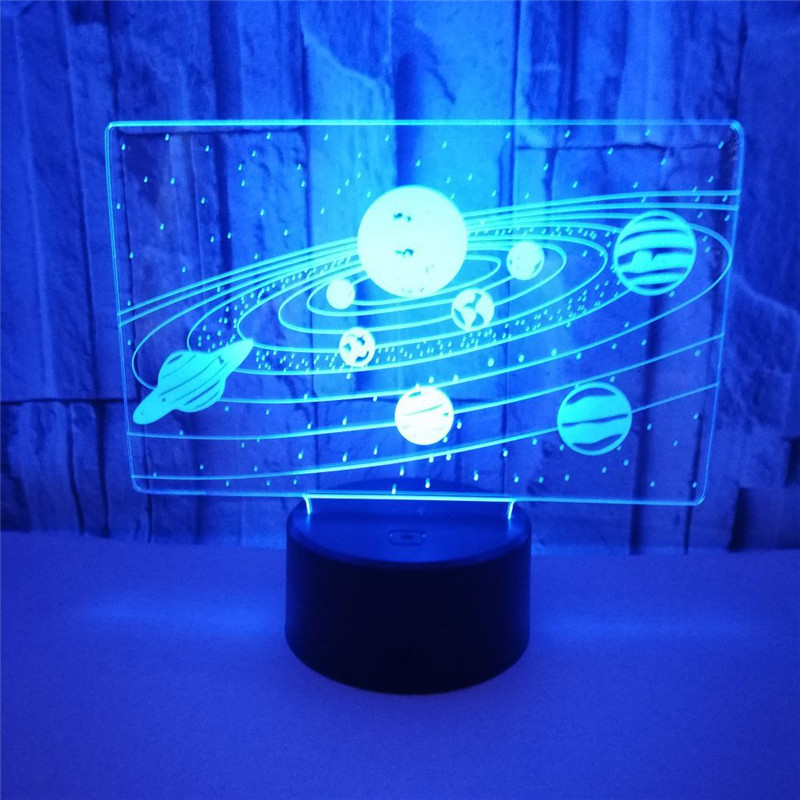 3D lamp Optical illusion Touch LED Night Light Home Room Decor Solar System Visual Illusion Desk Lamp Creative gifts