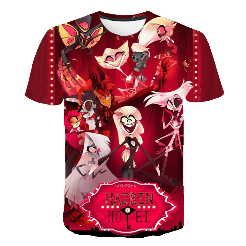 2020 New Anime Hazbin Cosplay Hotel T-Shirt Charlie T Shirt Dust Alastor Vaddie Tee 3D T Shirts Halloween Costume For Kids Adult