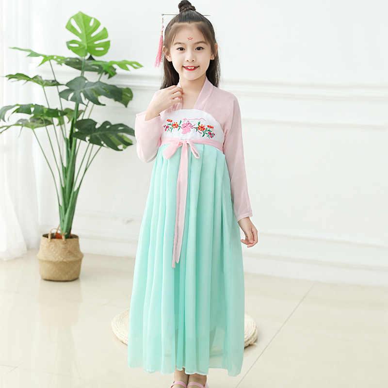 Crianças roupas chinesas primavera e verão vida diária melhorada chinês-estilo vestido peito-bebê meninas jaqueta saia traje antigo