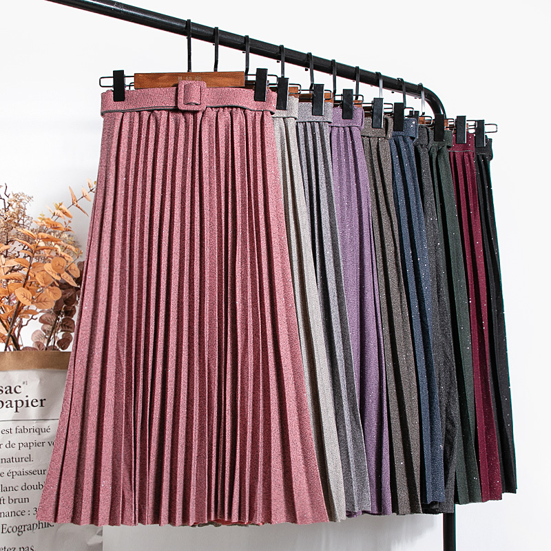 Женская Блестящая юбка 2020 Новая Женская мода Ретро Стиль Высокая талия плиссированная юбка осень зима офис леди толстые теплые юбки