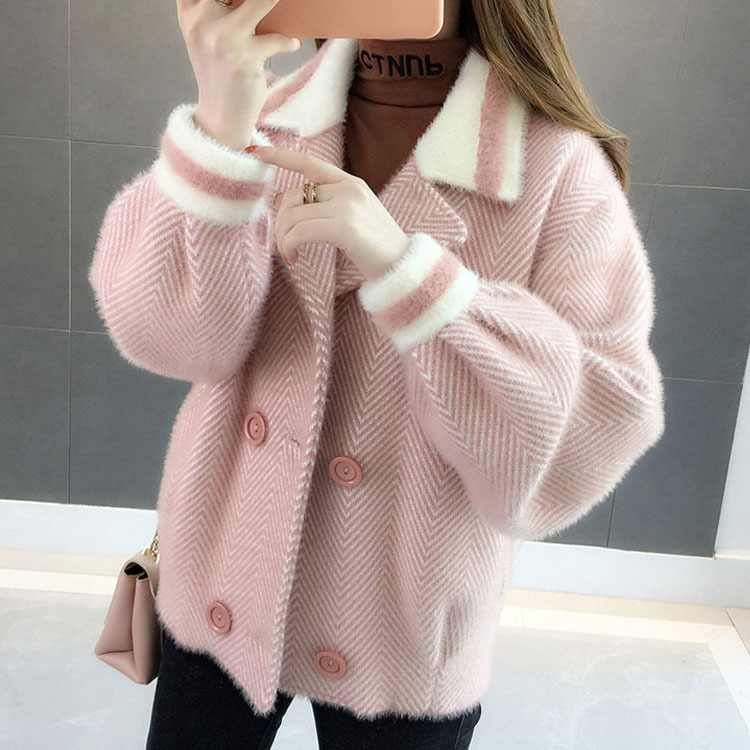 Autumn 2019 The New Imitated Mink Wool Coat More Female Brief Paragraph Small Autumn Winter Sweater Cardigan LD001