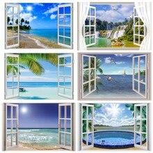 Laeacco Fotografie Achtergronden Tropische Palme Boom Venster Eiland Zee Strand Blauwe Hemel Scène Foto Achtergrond Photocall Fotostudio