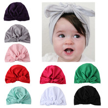 New Europe US Baby Hats Bunny Ear Caps Turban Knot Head Wraps Infant Kids India Ears Cover Childen Milk Silk Beanie