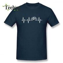 Custom Bike Heart Pulse ECG T Shirt For Unisex Popular 3D Print Man Pure Cotton Bicycle Love Homme Tee