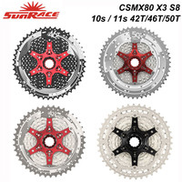 SunRace 10s 11s MTB Bicycle Freewheel 11 42T 46T 50T , CSMX80 S3 X3 S8 X8 Cassettes , 10 11 Speed Wide Ratio Bike Flywheel