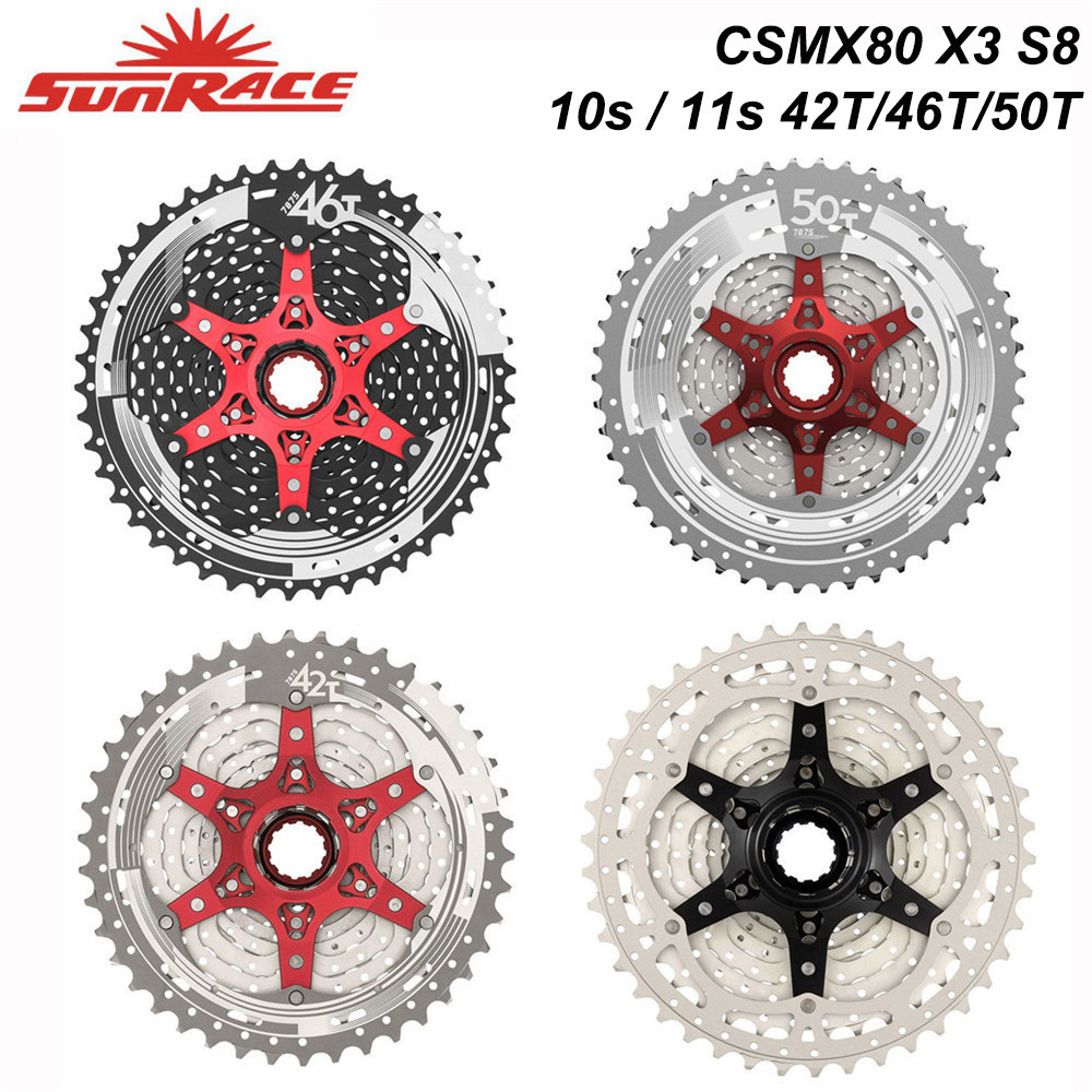 SunRace 10s 11s MTB Bicycle <font><b>Freewheel</b></font> <font><b>11</b></font> - <font><b>42T</b></font> 46T 50T , CSMX80 S3 X3 S8 X8 <font><b>Cassettes</b></font> , 10 <font><b>11</b></font> Speed Wide-Ratio Bike Flywheel image